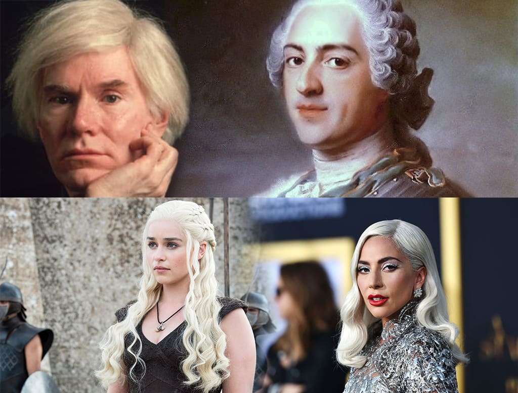 Collage Of Four Images Including Lady Gaga, Daenerys Targaryen, Andy Warhol and Aristocrat Showing The Gray Hair Evolution
