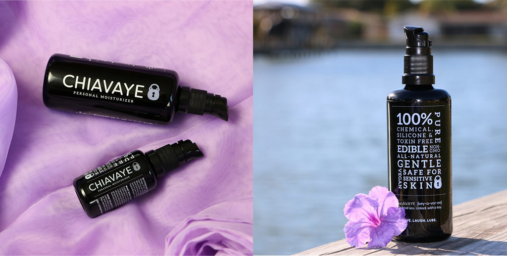 Two-Panel Collage Of Beautiful Stock Imagery Of Chiavaye Bottles Against Purple Fabric And Beside A Lake