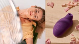 Collage Of Seductive And Relaxed Woman With A Close-Up View Of Purple LELO SONA 2 Cruise