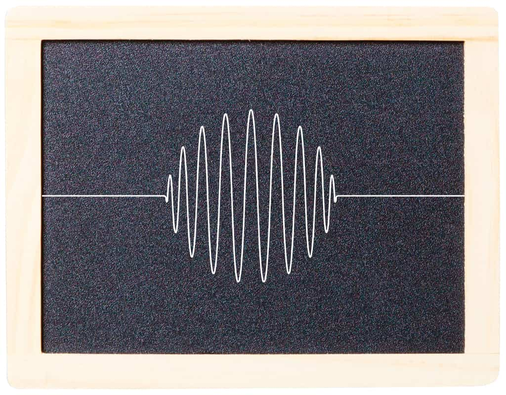 A Black Chalkboard Displays Series Of White Wavy Lines To Depict Vibration